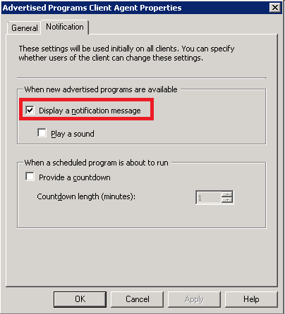 Enabled the notification on Advertised Programs Client Agent