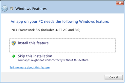 Installing .NET Framework 3.5 on Windows 8