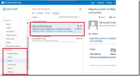 Exchange 2013 – Restore mail with New-MailboxRestoreRequest