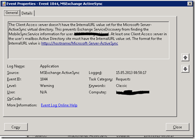 ActiveSync devices are not automatically redirected to after DAG failover.