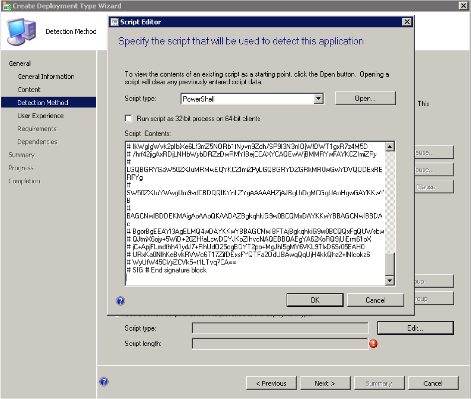 Bug when using signed Powershell scripts as Custom Detection