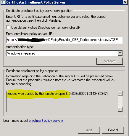 Certificate Enrollment Web Services – Access was denied by the