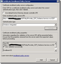 Certificate Enrollment Web Services – Access was denied by the remote endpoint