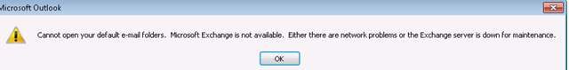 Unable to open Outlook on Exchange 2013 – Cannot open your