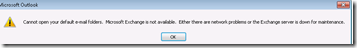 Another issue with opening Outlook with mailbox on Exchange 2013 – Cannot open your default e-mail folders.