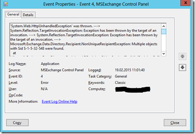 Exchange 2013 – Managing mailboxes with ECP fails with 500 error