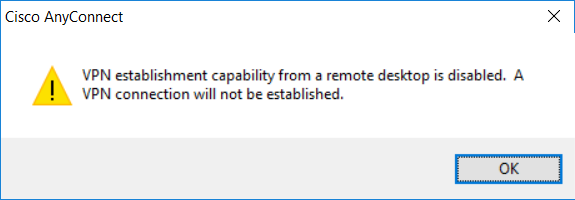 Vpn capability from remote desktop is disabled